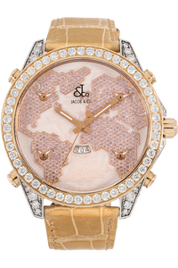 5 Time Zone The World Is Yours Rose Gold and Stainless Steel Quartz