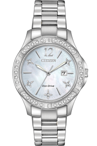 Citizen Eco-Drive Ladies Elektra Silver Tone Stainless Steel Watch With Date