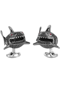 Black Spinel Shark Cufflinks