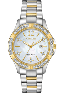 Citizen Eco-Drive Ladies Elektra Two Tone Stainless Steel Watch With Date