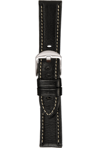 24 mm Black Vegetable Leather Strap
