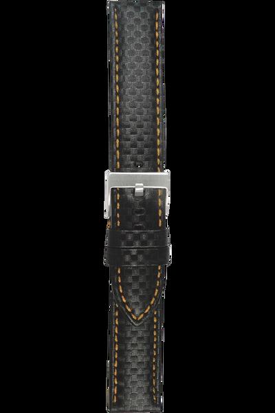 20 mm Orange Carbon-Fiber Finish Leather Strap