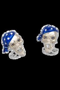 Pirate Skull Bandana Cufflinks with Sapphire Eyes