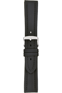 20 mm Black Kevlar Grain Leather Strap