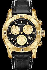 Men's Gold Tone Black /Gold Dial