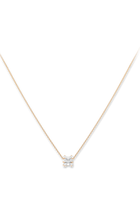 Baguette Love Pendant With Chain in 18K Rose Gold