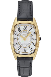 Ladies Gold Tone Crystal MOP Dial Strap