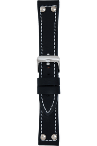 22 mm Black Silicone Layered Leather Strap