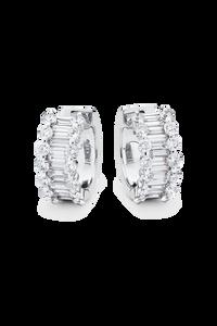 Baguette Love Ear Pins in 18K White Gold