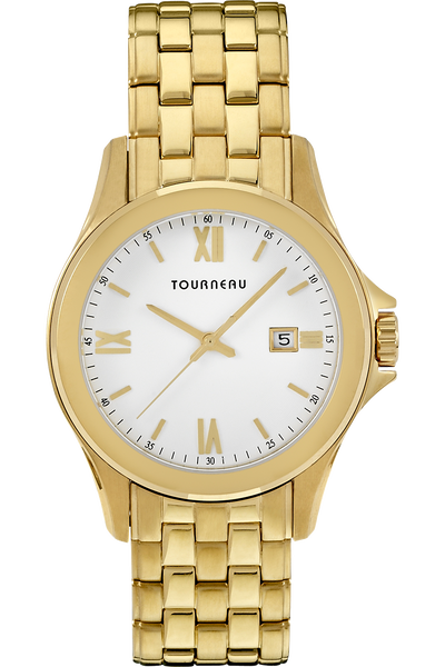Men's Gold Tone White Dial Bracelet - Tourneau