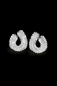 Baguette Love Ear Pendant in 18K White Gold