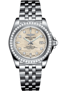 Galactic 32 Sleek Edition Steel & Gem Set Bezel, MOP Diamond Dial