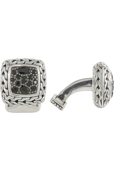 Classic Chain Silver Lava Cufflinks