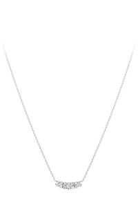 Baguette Love Necklace in 18K White Gold
