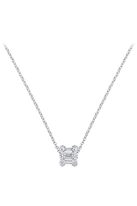 Baguette Love Pendant With Chain in 18K White Gold