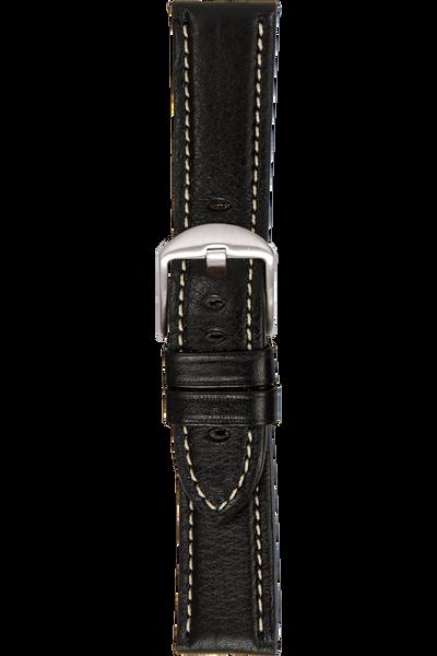 24 mm Black Vegetable Leather Strap