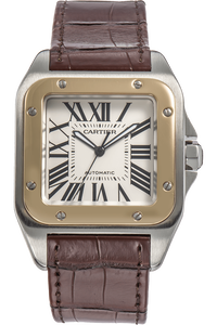 Santos 100 Yellow Gold and Stainless Steel Automatic