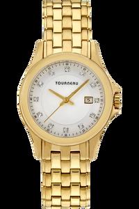Ladies Gold Tone White Diamond Dial
