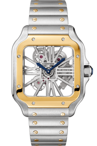 Santos De Cartier Skeleton, Large Model, Manual, Yellow Gold And Steel, Leather