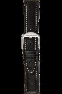 22 mm Black Vegetable Leather Strap