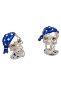 Pirate Skull Bandana Cufflinks with Sapphire Eyes