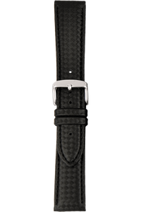 20 mm Black Leather Strap with Carbon-Fiber Finish