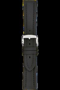 18 mm Black Kevlar Grain Leather Strap