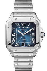 Santos de Cartier Stainless Steel, Large, two interchangeable straps