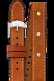 16MM Saddle Calfskin Gold Stud Double Wrap Strap