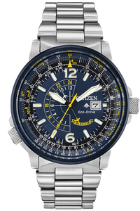 Citizen Eco-Drive Men's Blue Angel Nighthawk Silver Tone Stainless Steel Watch With Date
