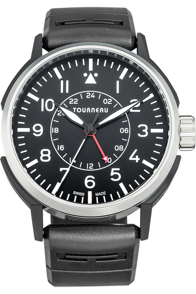 TNY 44mm Aviator GMT in Stainless Steel and DLC
