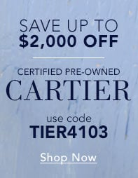 Save up to $2000 off Certified Pre-Owned Cartier Watches - Shop Now